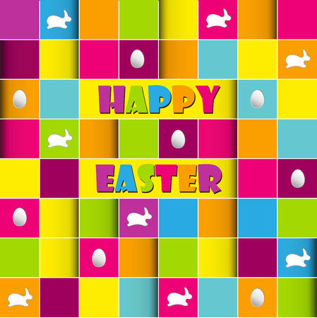 Happy easter cards illustration retro vintage with easter egg  and fonts   Vector