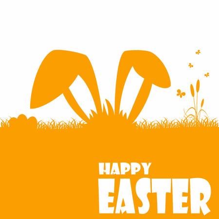 ni�os con pancarta: Tarjetas de pascua feliz ilustraci�n con huevo de Pascua y las fuentes.