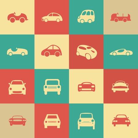 Retro samochody zestaw ikon wektorowych samochodów różnych form. Ikony sieci Web.
