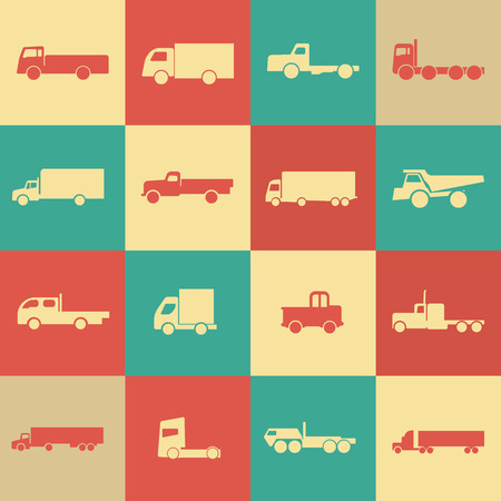 truckload: Retro transport icons. Vector illustration. Vector silhouettes of vehicles.
