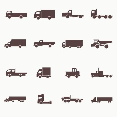 camion grua: Iconos de camiones de transporte. Ilustraci�n del vector. Siluetas del vector de los veh�culos.