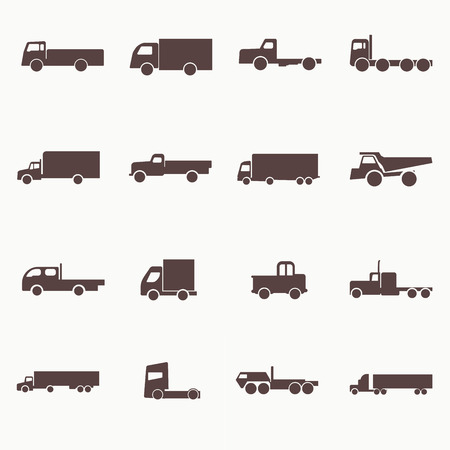 Transport truck icons. Vector illustration. Vector silhouettes of vehicles. Stock Vector - 26490078