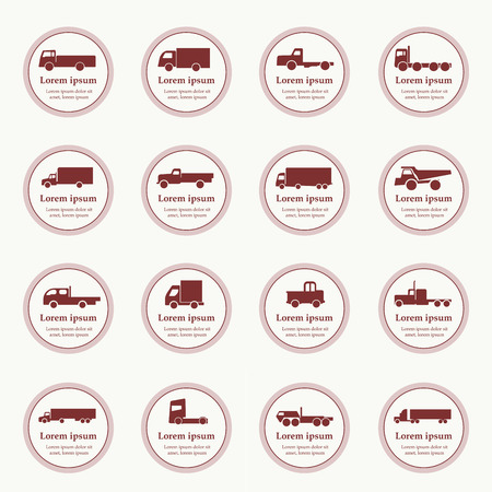 semitrailer: Transport truck icons. Vector illustration. Vector silhouettes of vehicles.