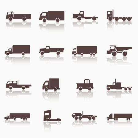 Iconos de camiones de transporte. Ilustración del vector. Siluetas del vector de los vehículos. Ilustración de vector