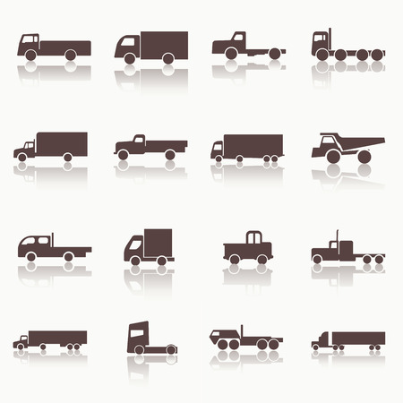 Transport truck icons. Vector illustration. Vector silhouettes of vehicles. Vector