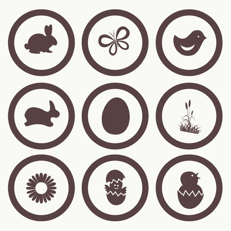 hopping: Easter Icon Symbol collection vector, grouped for easy editing. Illustration.
