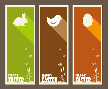 cartoon present: Set of Easter greeting cards with butterfly.