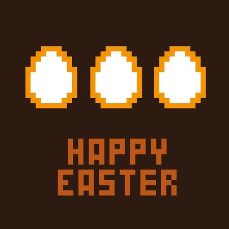 8bit: Scheda di pasqua felice. Pixel icone di Pasqua a 8 bit. Vettoriali