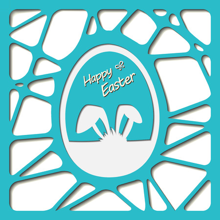 rabit: Happy easter cards illustration with easter egg.