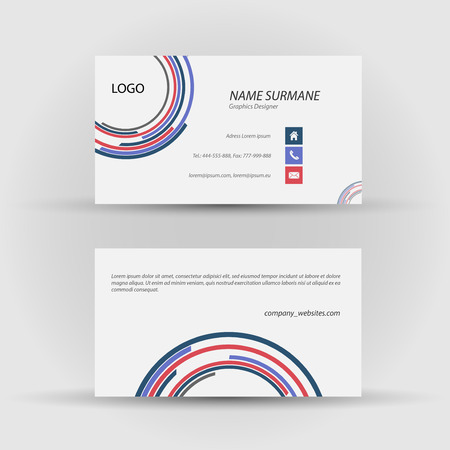 Set of modern vector business card template - front and mack side Vector