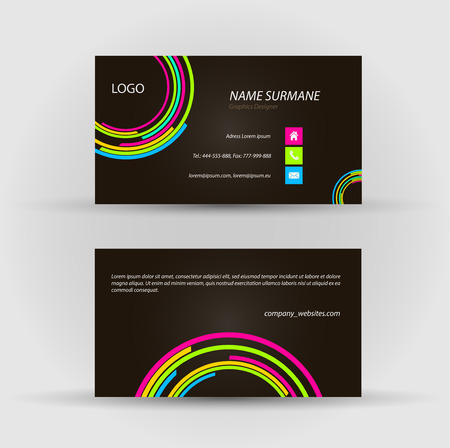 Set of modern vector business card template - front and back side Stock Vector - 27458162