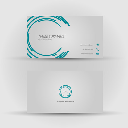 Set of modern vector business card template - front and back side