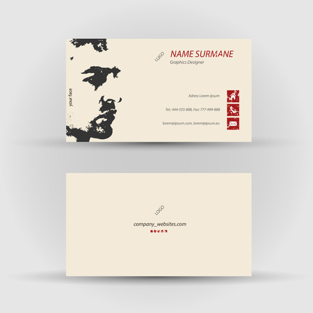 Set of modern vector business card template - front and back side Stock Vector - 27454661