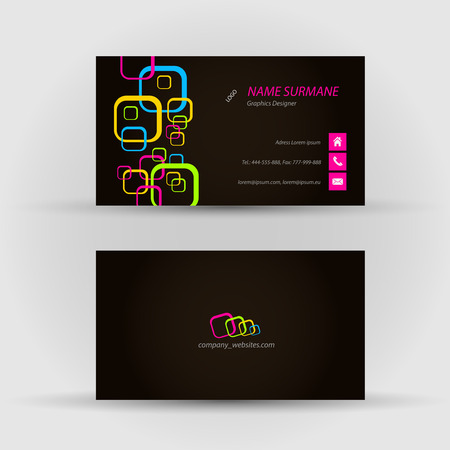 Set of modern vector business card template - front and back side Stock Vector - 27460539