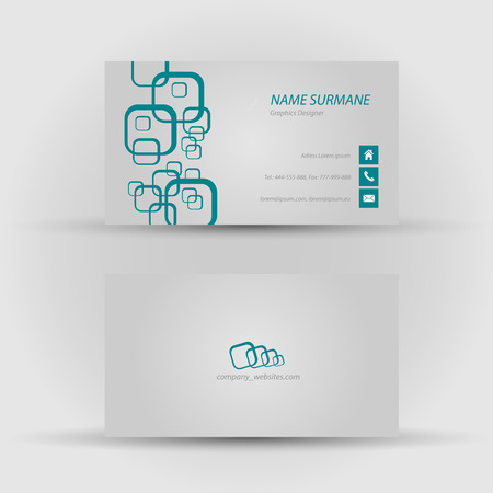 Set of modern vector business card template - front and back side Stock Vector - 27460541