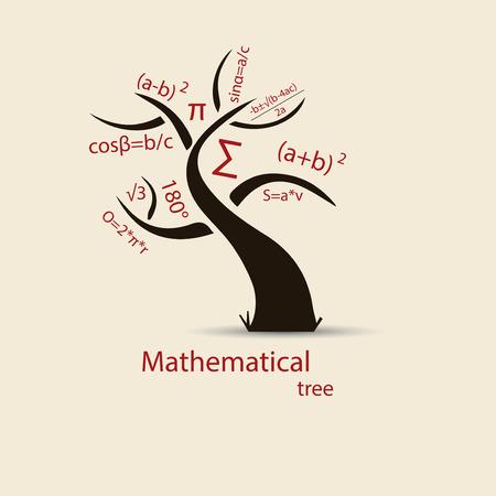 Math tree sketch for your design. Vector. Illustration. Иллюстрация