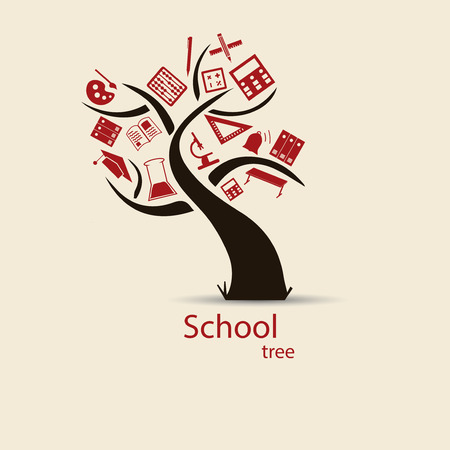 School tree sketch for your design. Vector. Illustration. Vector