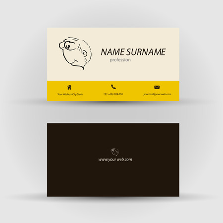 flexible business: Set of modern vector business card template with face - front and back side