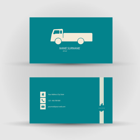 textfield: Set of modern vector business card , driver - front and mack side