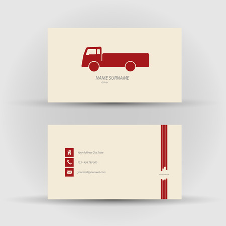 mack: Set of modern vector business card , driver - front and mack side