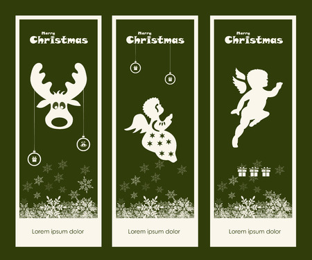 Merry Christmas gift tags collection, vector, illustration Vector