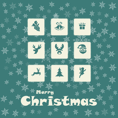 Merry Christmas card with snow, vector, illustration Vector