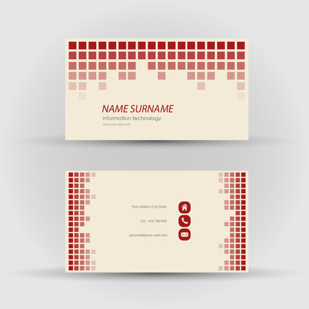 Set of modern business card template - front and mack side