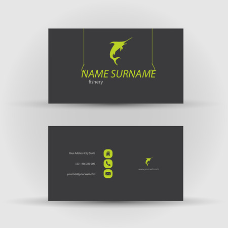 Set of modern vector business card template with fish