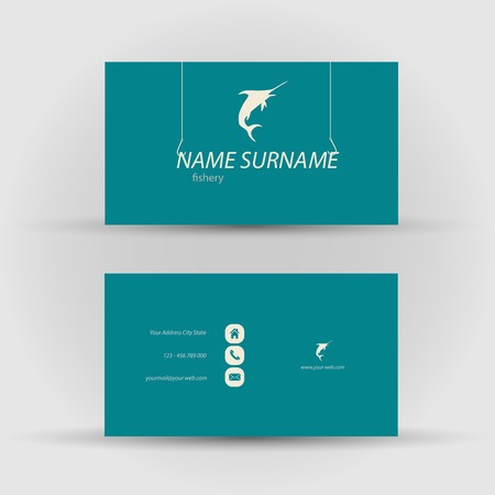 textfield: Set of modern vector business card template with fish