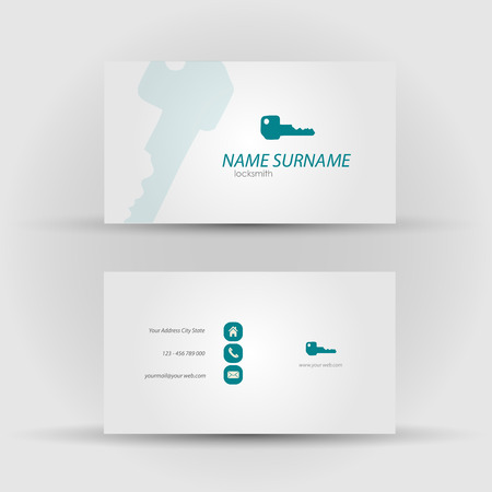 joinery: Set of modern vector business card template - front and mack side Illustration