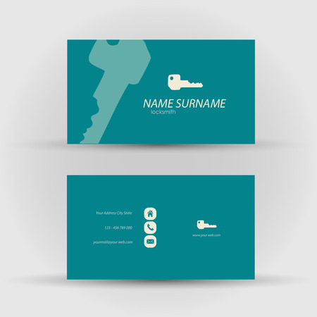 locksmith: Set of modern vector business card template - front and mack side Illustration