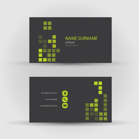 Set of modern vector business card template - front and mack side Illustration