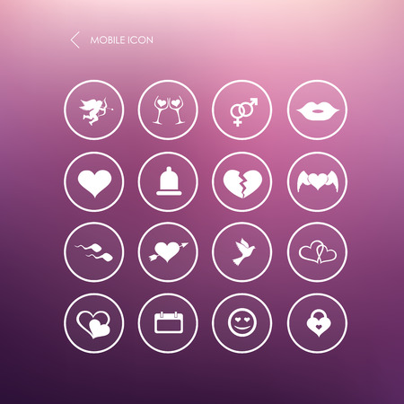 love declarations: Set valentines day mobile icons, love on the Internet symbols. Vector. Illustration.