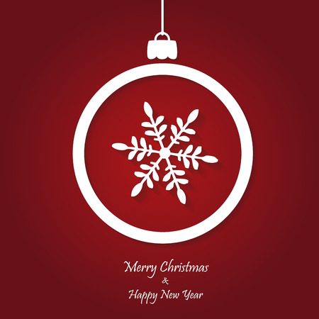 vector red christmas background. cut paper design. xmas card Vector