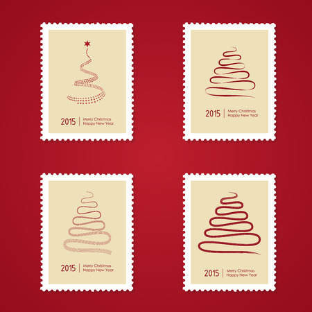 postage stamps: Set of Christmas Postage stamps with tree.Vector illustration
