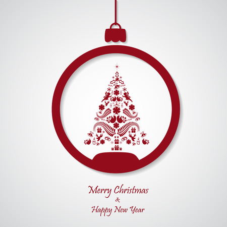 vector red christmas background with tree. cut paper design. xmas card Vector