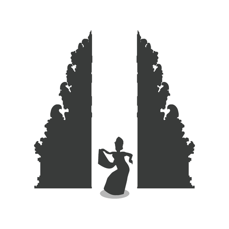 Traditional balinese dancer in front of Bali gate Illustration