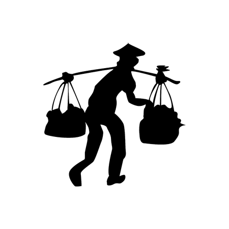 Silhouette of country person