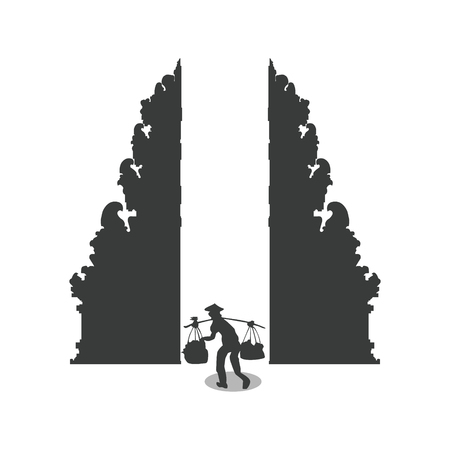 Silhouette of a country man working