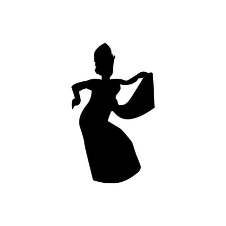 Silhouette des traditionellen balinesischen Tänzers