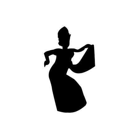 Silhouette of traditional balinese dancer