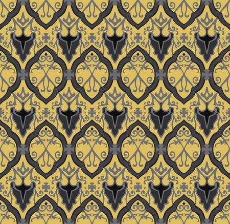Black royal pattern. Seamless vector background