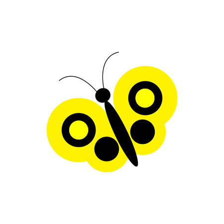 Simple vector yellow butterfly Illustration