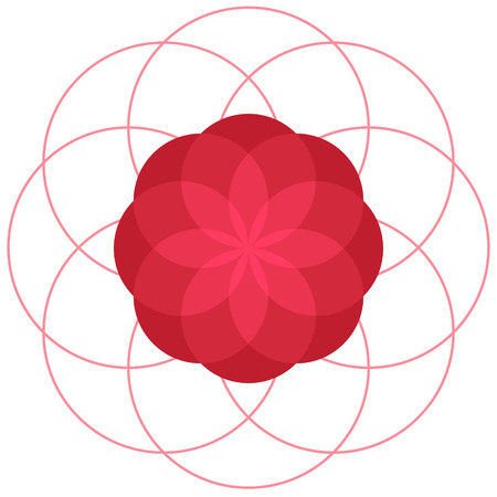 Red abstract geometric flower