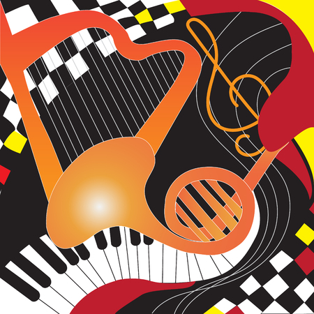 Design Poster with musical instruments and chess. Vector illustration