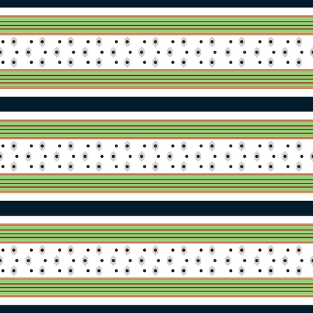 Retro white and green Colored Seamless Pattern with Horizontal Stripes