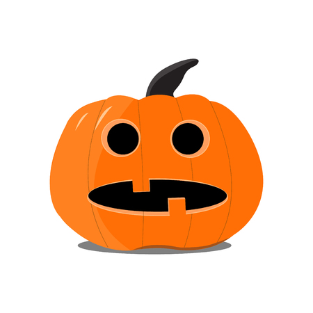 Flat Halloween pumpkin on the white background.