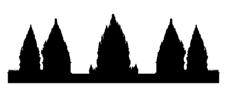 Black silhouette of old Prambanan hindu temple