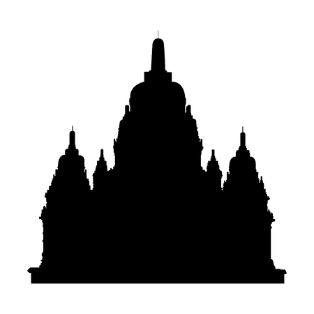 Black silhouette of old Sewu buddhist temple