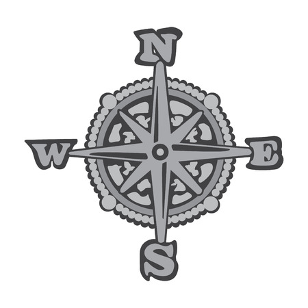 Gray Compass Icon Vector. Simple flat symbol.